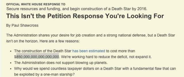 Respuesta de la Casa Blanca a la petición popular de construir una Estrella de la Muerte